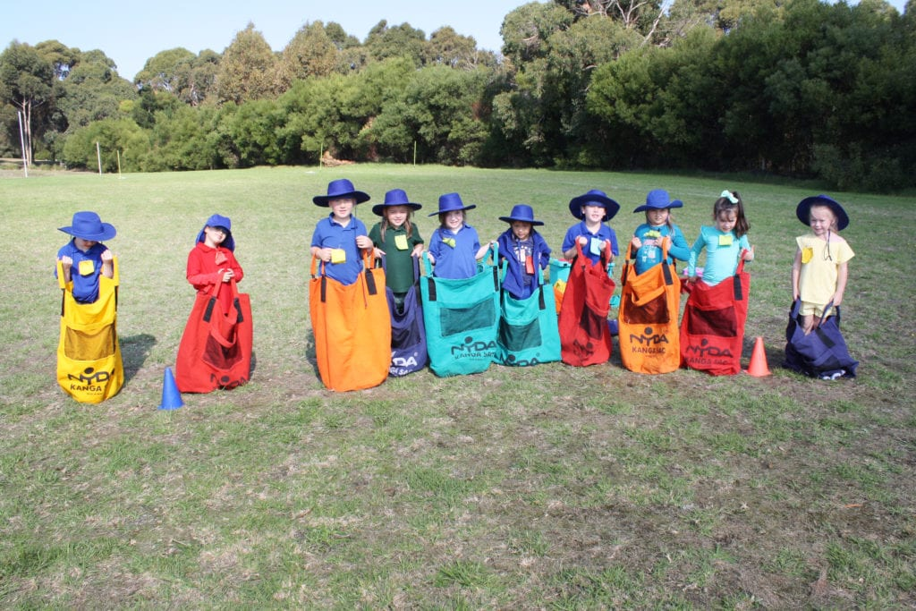 Wonthaggi-North-Primary-class-outdoors-playing-sack-races