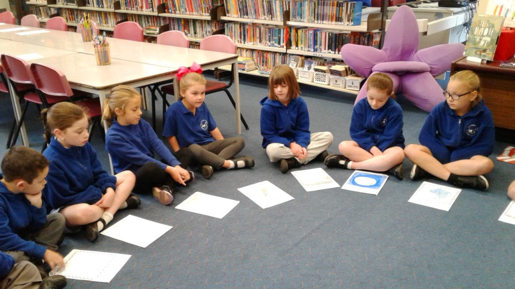 Wonthaggi-North-Primary-group-of-students-sharing-stories-in-the-library