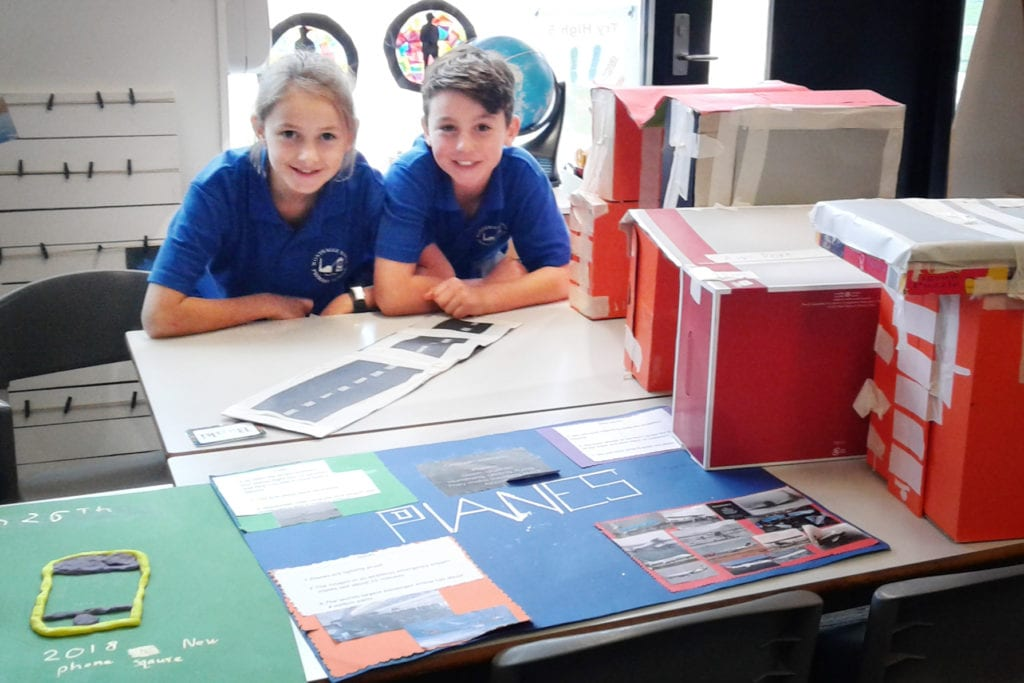 Wonthaggi-North-Primary-two-students-together-with-projects
